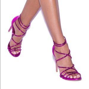Purple/pink strappy heels